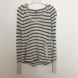 ROXY cream and black striped pullover hoodie, M